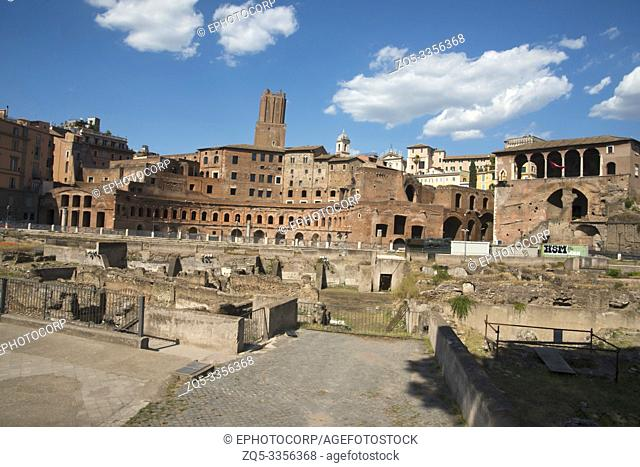 Roman forum, Roman ruins, surrounded by the remnants of ancient government buildings, Rome