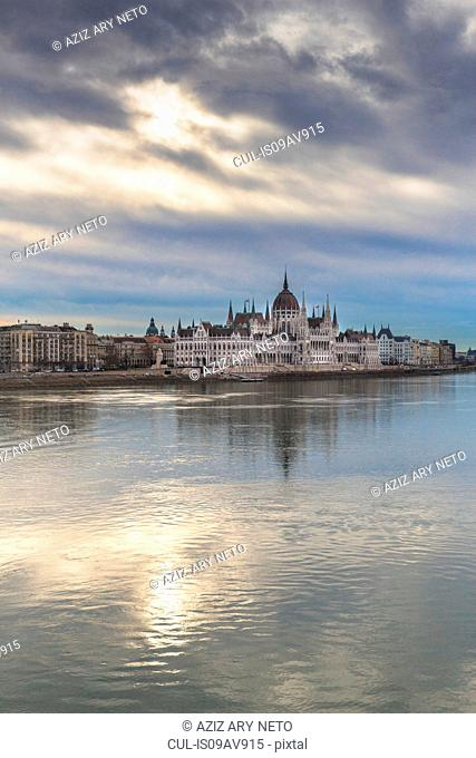 Hungarian parliament building over Danube River, Budapest, Hungary