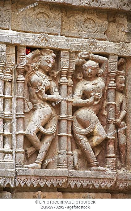 Carved idol on the outer wall, Hatkeshwar Mahadev, 17th century temple, the family deity of Nagar Brahmins. Vadnagar, Gujarat, India