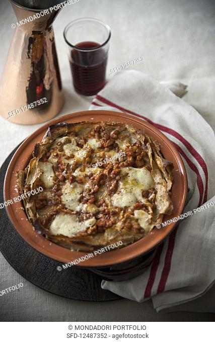 Lasagna with Leaks and Lentil Sauce