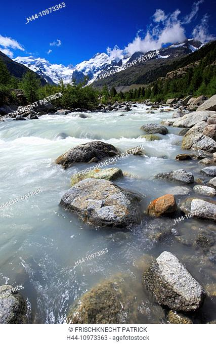 Alps, mountain, mountain panorama, mountains, mountain valley, Bernina, Biancograt, flowers, river, flow, mountains, water, glacier, Graubünden, Grisons, sky