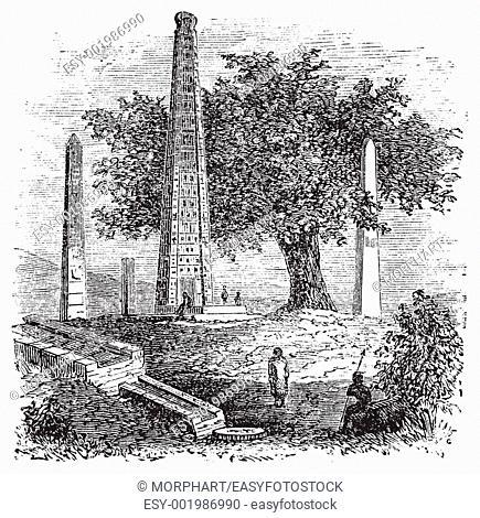 Obelisk of Axum or Rome Stele, in Tigray Region, Ethiopia, during the 1890s, vintage engraving  Old engraved illustration of the Obelisk of Axum