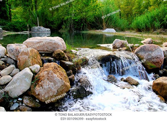 Mijares river near Montanejos nature waterfall Castellon Spain