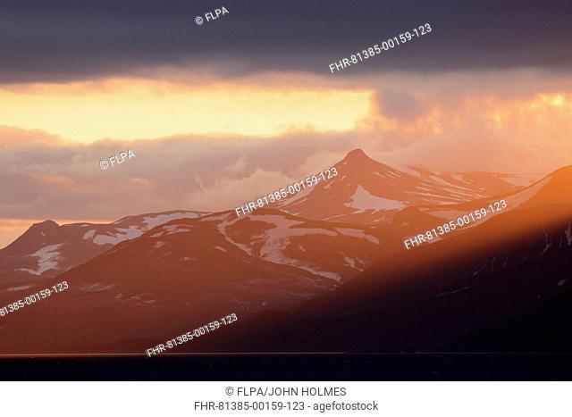 View of coastline at sunset, Kamchatka Peninsula, Kamchatka Krai, Russian Far East, Russia, june