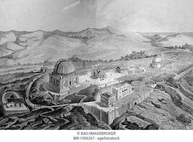 The observatory near Nice, France, woodcut circa 1871