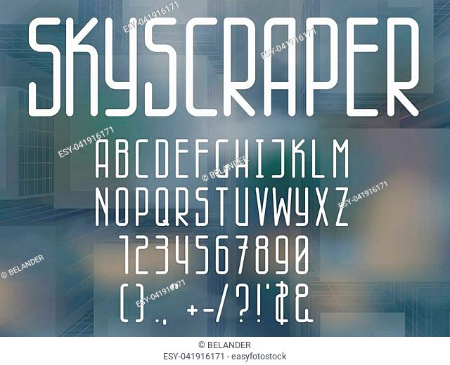 Thin line style font. Narrow sans serif letters and numbers. Vector latin alphabet