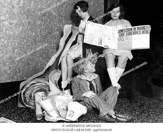 San Francisco, California: May 16, 1930 School children are giving California Governor C.C. Young two miles of newspaper clippings on the cases of Thomas Mooney...