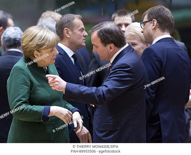 March 10, 2017. Brussels, Belgium: German Chancellor Angela Merkel (L) is talking with the President of the European Council Donald Franciszek Tusk (C) and the...