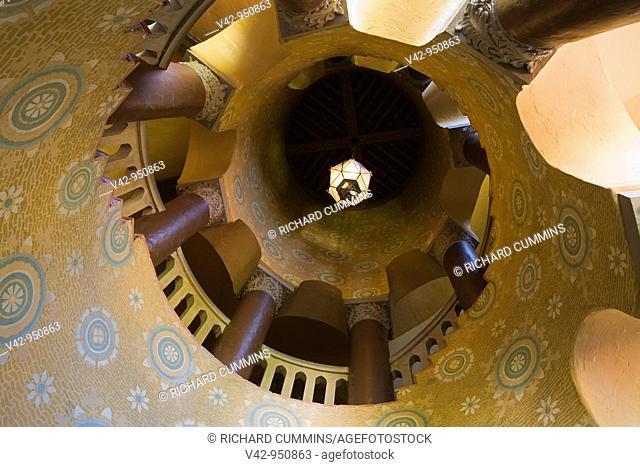 Circular Staircase, Santa Barbara County Courthouse, Santa Barbara, California, USA