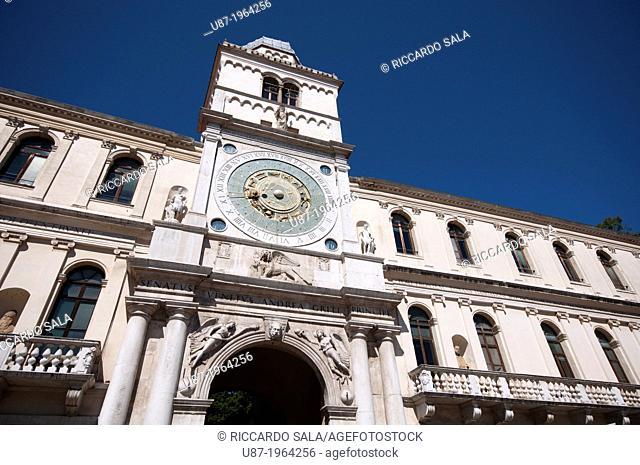 Italy, Veneto, Padua, Piazza dei Signori Square, Tower and Astronomical Clock