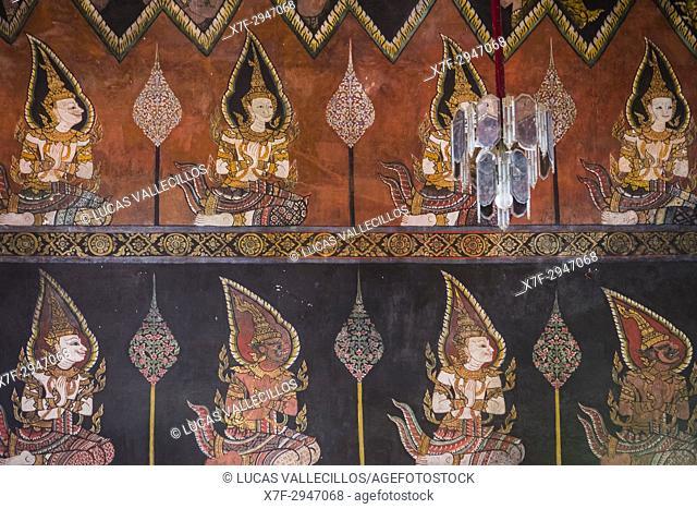 Detail, wall paintings, in wat suwan dararam temple, Ayutthaya, Thailand