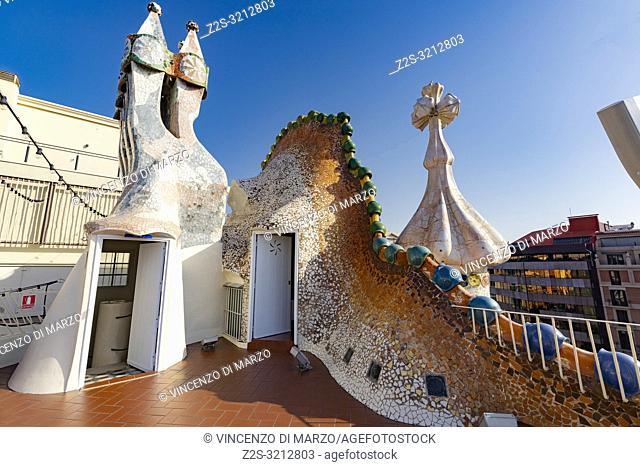 Terrace of the Casa Batlló Barcellona Spain