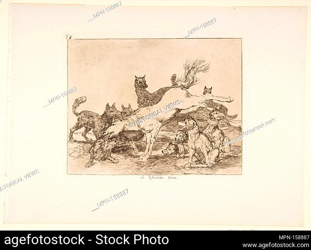 Plate 78 from 'The Disasters of War' (Los Desastres de la Guerra): 'He defends himself well' ' (Se defiende bien.). Series/Portfolio: The Disasters of War;...