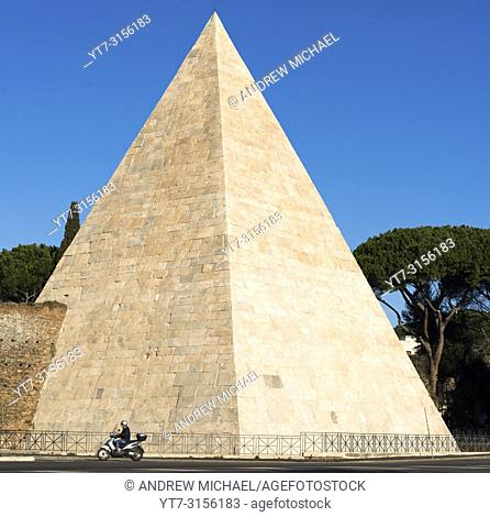 The Pyramid of Cestius is an ancient pyramid with in Rome, Italy, near the Porta San Paolo and the Protestant Cemetery