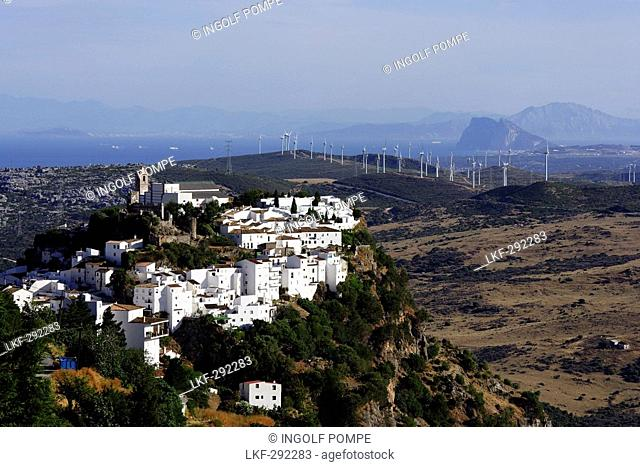 Aerial shot of Casares, Gibraltar in teh the back, Andalusia, Spain