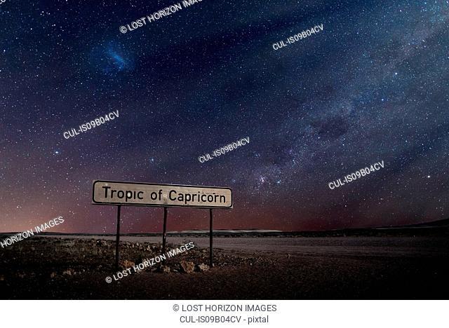 Tropic of Capricorn sign, Namib Desert, Namibia