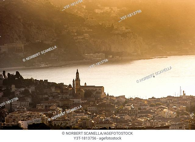 Europe, France, Alpes-Maritimes, Menton 06, the old city with the Saint-Michel church and its bell tower at sunset