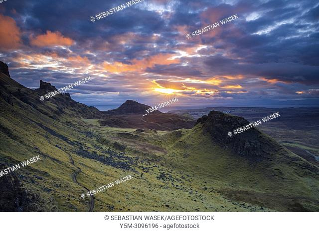 The Quiraing a landslip on the eastern face of Meall na Suiramach, A view over Loch Leum na Luirginn and Loch Cleat, northeast coast of Trotternish Peninsula
