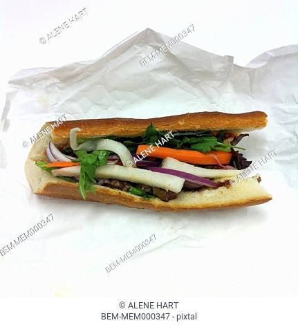 Close up of Vietnamese sandwich