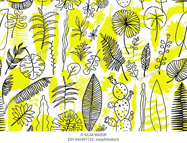 Floral seamless pattern. Vector nature bright background. Flourish wallpaper with plants Inflorescences