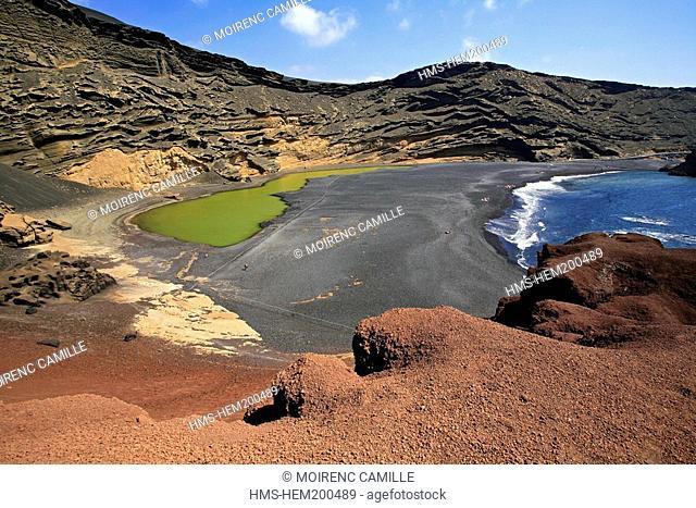 Spain, Canary Islands, Lanzarote Island, Biosphere reserve, El Golfo, the lagoon
