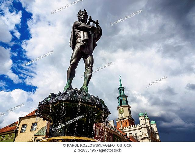 Poland, Greater Poland, Poznan, Old Town, Market Square, Fountain of Apollo and Town Hall