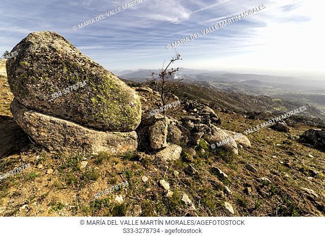 Sierra de San Vicente on a winter sunny day. El Real de San Vicente. Toledo. Spain. Europe