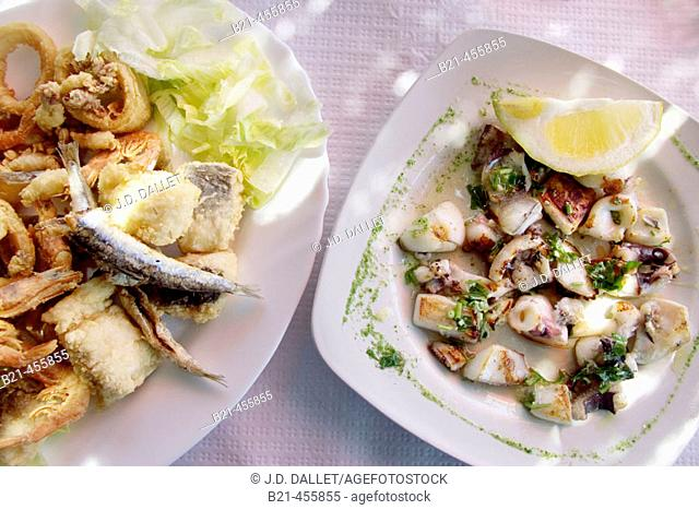 "Food: ""Fritura de pescados"" -fried fishes- and ""sepia a la plancha"" -sepia squid. Almería. Andalucia. Spain"