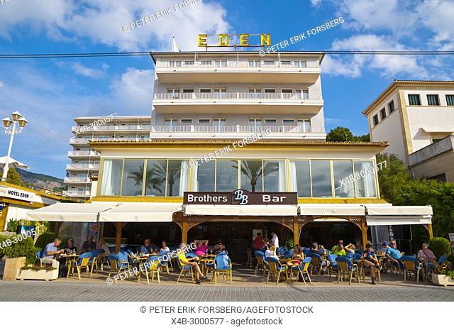 Hotel restaurant Eden, Carrer de la Marina, seaside street, Port de Soller, Mallorca, Balearic islands, Spain