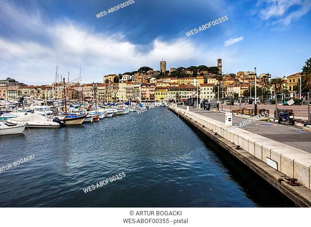 France, Cannes, View to Old Town Le Suquet from Le Vieux Port