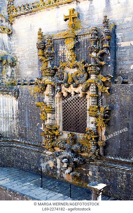 Cahpterhouse window, Convent Church, Templar Castle, Castelo dos Templários, Tomar, Santarém, Portugal, Europe