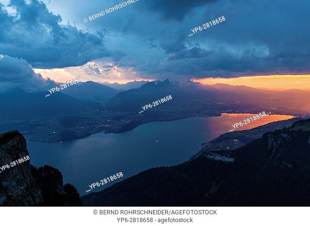 Lake Thun at sunset with thunderclouds, Niederhorn, Bernese Oberland, Switzerland