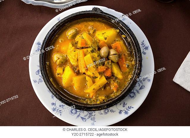 Essaouira, Morocco. Chicken Tajine, a Typical Moroccan Dish