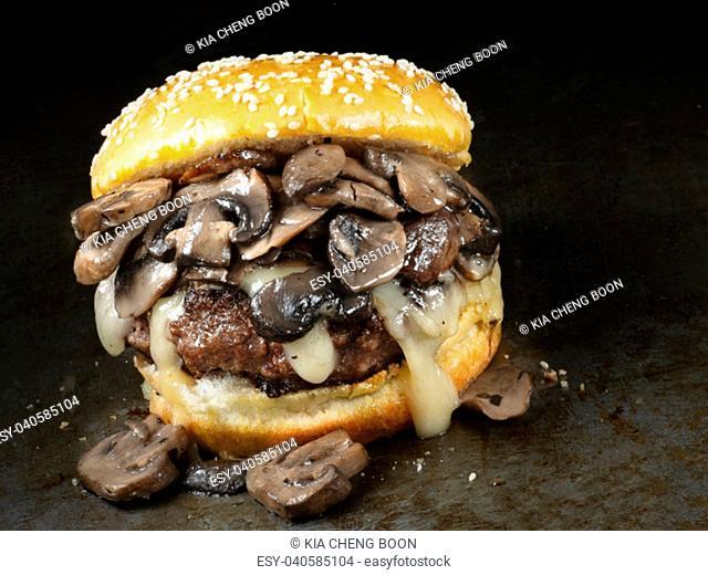 close up of rustic american mushroom cheese hamburger