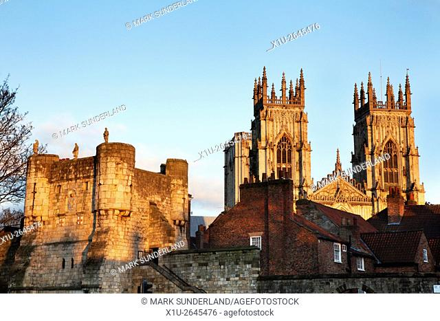 Bootham Bar and York Minster at sunset from Exhibition Square Yorkshire England