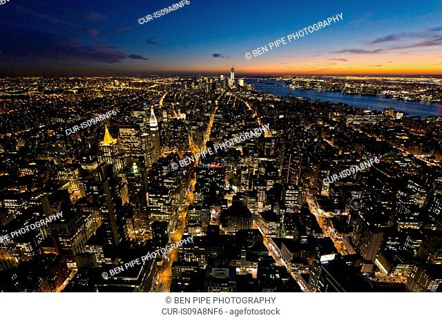 View from Empire State Building looking Downtown, Manhattan, New York City, USA