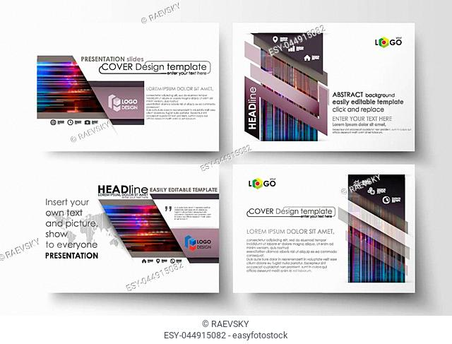 Set of business templates for presentation slides. Easy editable abstract layouts in flat design, vector illustration. Glitched background made of colorful...