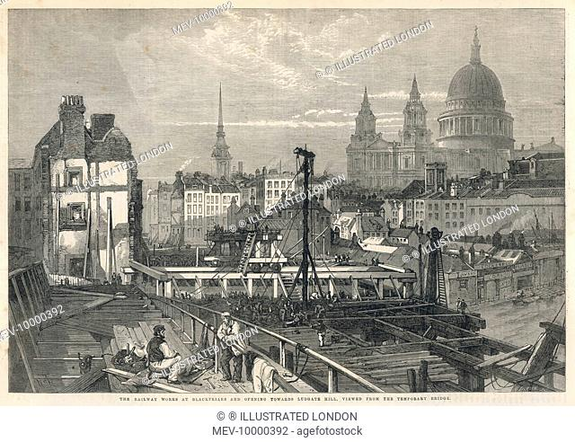 The construction of Blackfriars Station, looking towards Saint Paul's Cathedral in the City of London