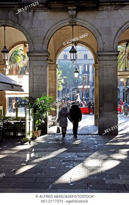 Arcades, Plaça Reial, Barcelona, Catalonia, Spain