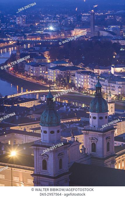 Austria, Salzburgerland, Salzburg, elevated city view from the Festung Hohensalzburg castle, dusk