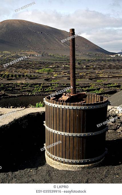 press viticulture winery lanzarote spain la geria vine screw grapes wall crops cultivation barrel