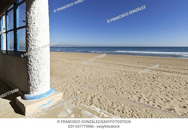 Beach of the Navy in municipal term of Elche, province of Alicante in Spain