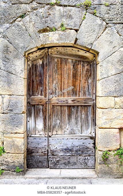 House facade, front door, entrance, Middle Ages, Sarlat-la-Canéda, Perigord Noir, region Aquitaine, Département Dordogne, France
