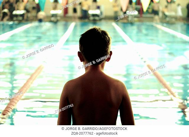 Little Swimmer without cap waiting