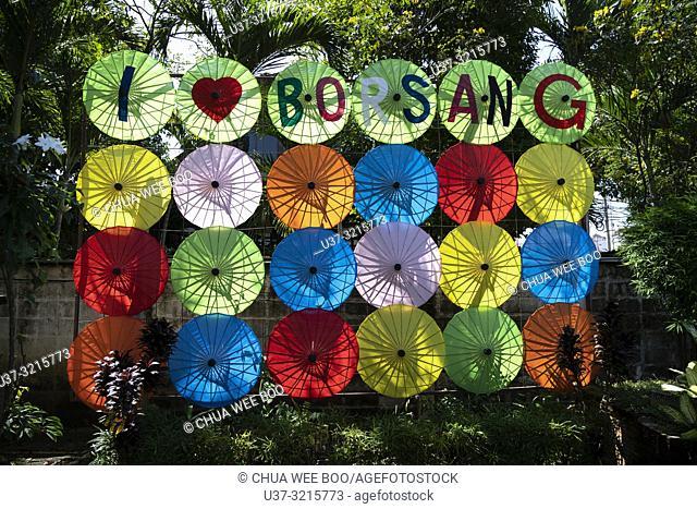 Thailand, Chiang Mai Province, Bor Sang. Umbrella factory