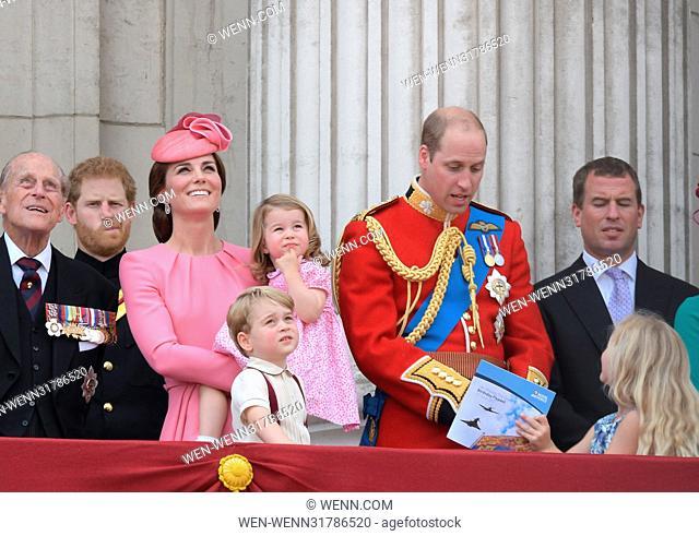 Duchess of Cambridge holding Princess Charlotte of Cambridge on the balcony at Buckingham Palace Featuring: Princess Charlotte, Duchess of Cambridge
