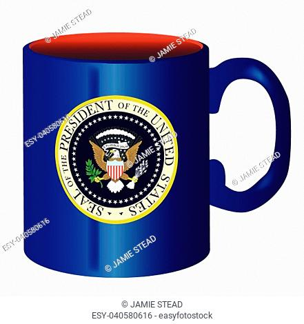 A spoof drawing of the mug of he President of the United States of America over a white background