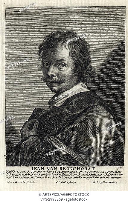 JEAN VAN BRONCHORST - Woodcut portrait and short biography (old french language) - Engraving 17th century