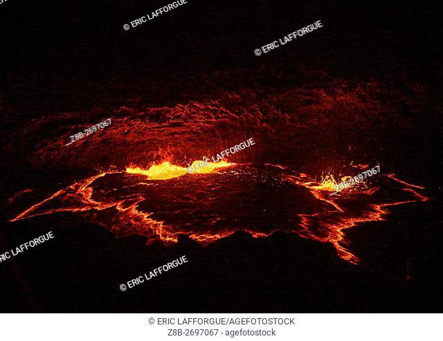 Ethiopia, Afar Region, Erta Ale, the living lava lake in the crater of erta ale volcano