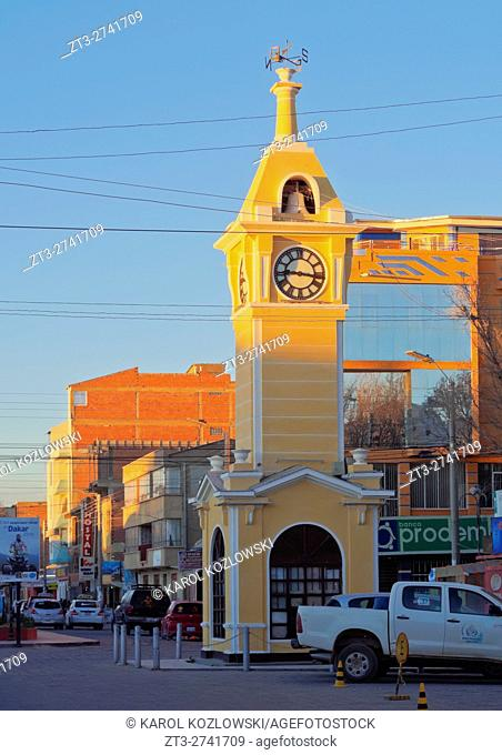Bolivia, Potosi Department, Antonio Quijarro Province, City of Uyuni, View of the Clock Tower
